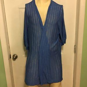 Catherines Blue Striped Cardigan Sweater 3X 26/28